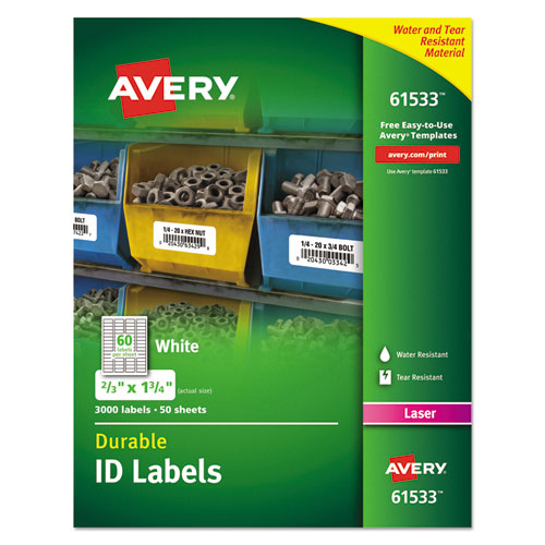 Avery® Permanent ID Labels w/TrueBlock Technology, Laser, 2/3 x 1 3