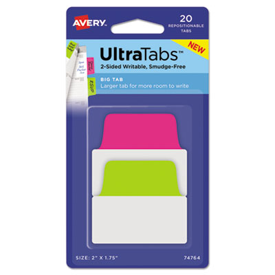 AVE-74764 Avery Ultra Tabs Repositionable Tabs, 2 x 175, Neon