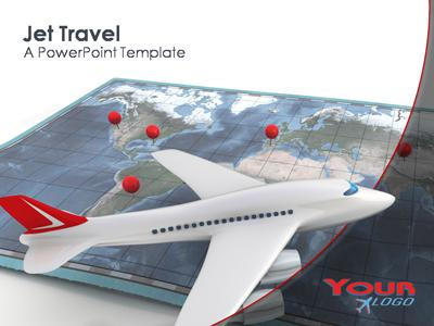 Jet Airplane with Travel Map - A PowerPoint Template from