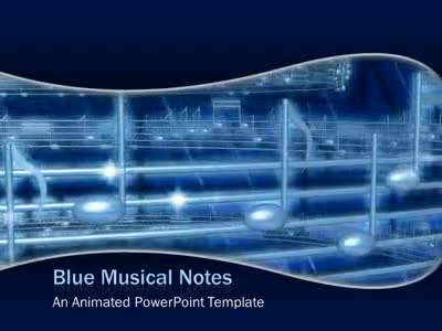 Blue Musical Notes - A PowerPoint Template from PresenterMedia