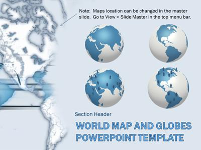 World Map And Globes - A PowerPoint Template from PresenterMedia