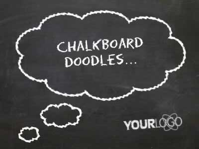 Whiteboard Doodles - A PowerPoint Template from PresenterMedia - chalkboard writing template
