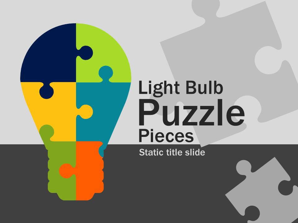 Light Bulb Puzzle Pieces - A PowerPoint Template from PresenterMedia - puzzle powerpoint template