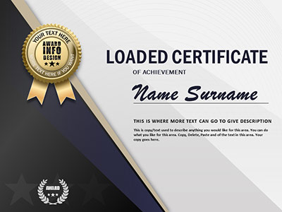 Loaded Certificate - A PowerPoint Template from PresenterMedia - powerpoint certificate template