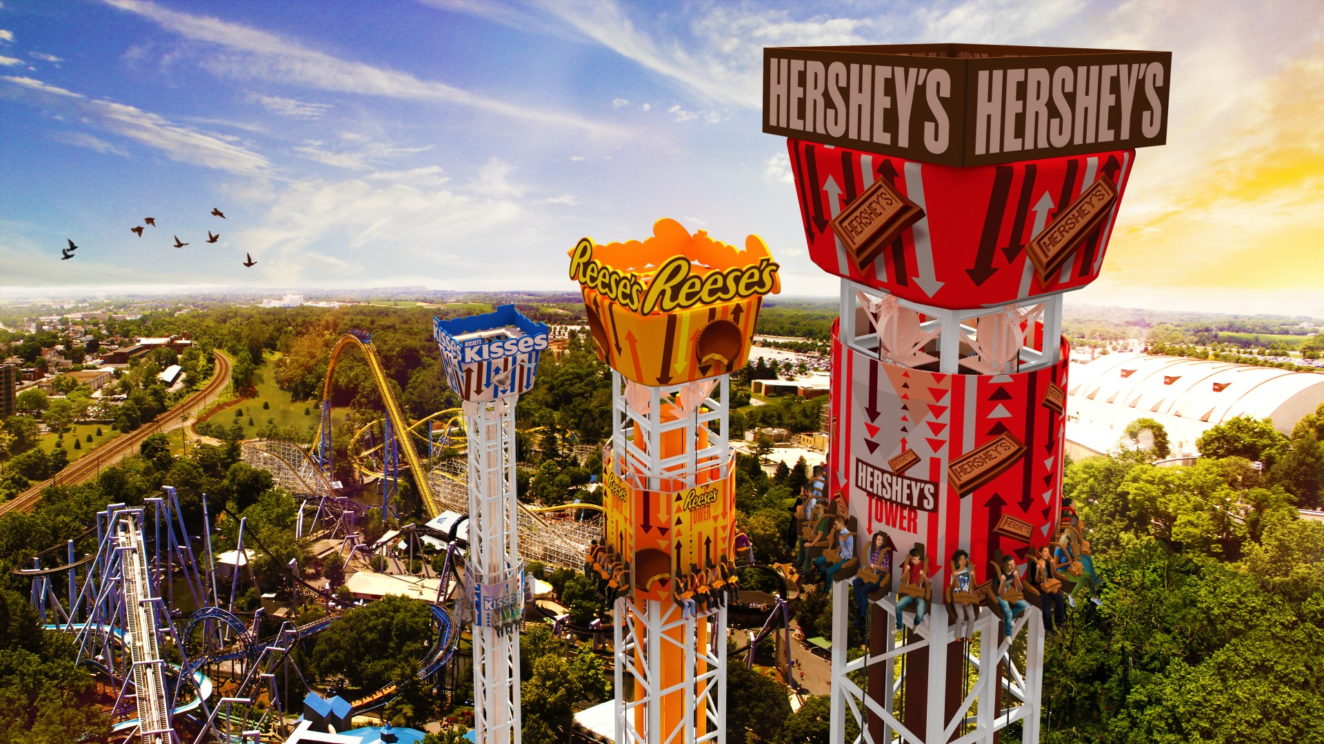 Philadelphia In The Fall Wallpaper Hersheypark Announces Hershey Triple Tower Opening In 2017