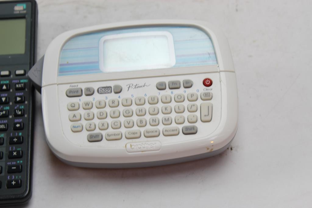 Brother P-touch Label Maker, HP Calculator 2 Pieces Property Room