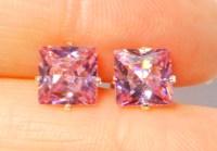 Pink Topaz Princess Cut Earrings   Property Room
