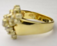 14K Yellow Gold Cluster Style Diamond Dinner Ring ...