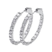 14K White Gold Brilliant Inside Out Round Diamond Hoop ...