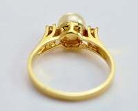 14K Yellow Gold Classy Diamond Dinner Ring With 7MM Pearl ...