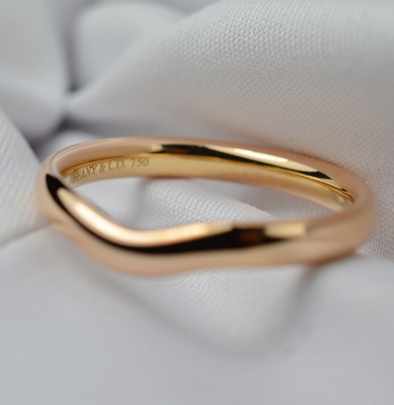 wedding band curved Elsa Peretti 18K Rose Gold Curved Wedding Band Property Room