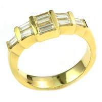 14K Yellow Gold 1.00 Ct t.w. Baguette Diamond Dinner Ring ...