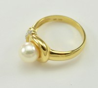 14K Yellow Gold 9MM Pearl and Diamond Dinner Ring ...