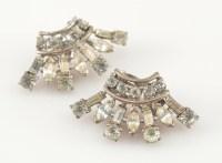 12g Solid Silver TRIFARI Vintage Rhinestone Earring-Clip ...