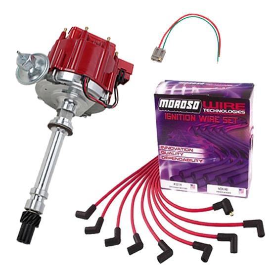 SBC HEI Distributor and Spark Plug Wiring Kit, Over Valve Covers