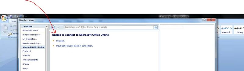 What has happened to Office 2007 Online Template Connection?