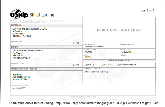 Ultimate Freight Guide - blank bill of lading
