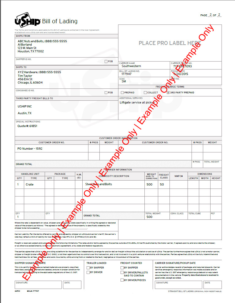 Ultimate Freight Guide - truck bill of lading form