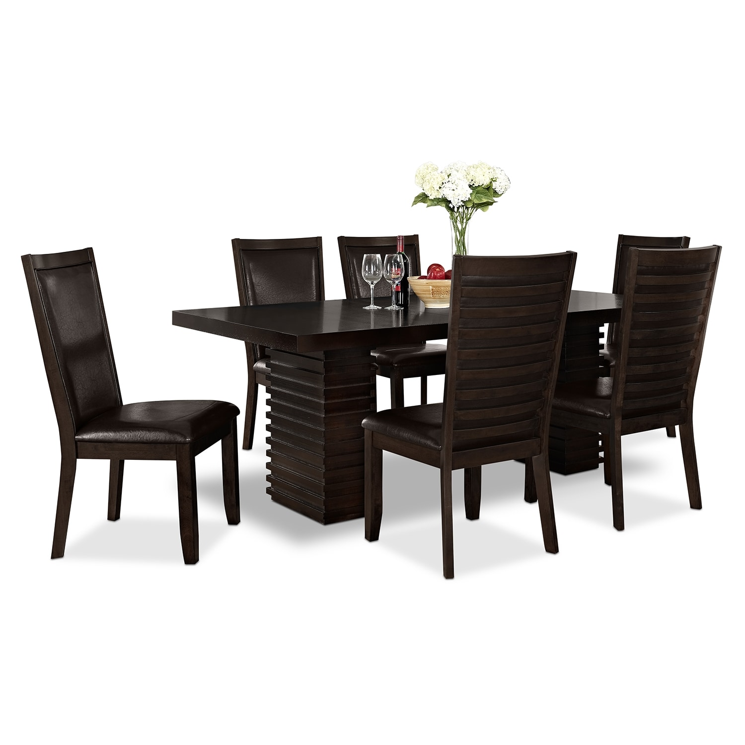 shop for 7 piece dining rooms 4 person kitchen table Paragon Table and 6 Chairs Merlot and Brown