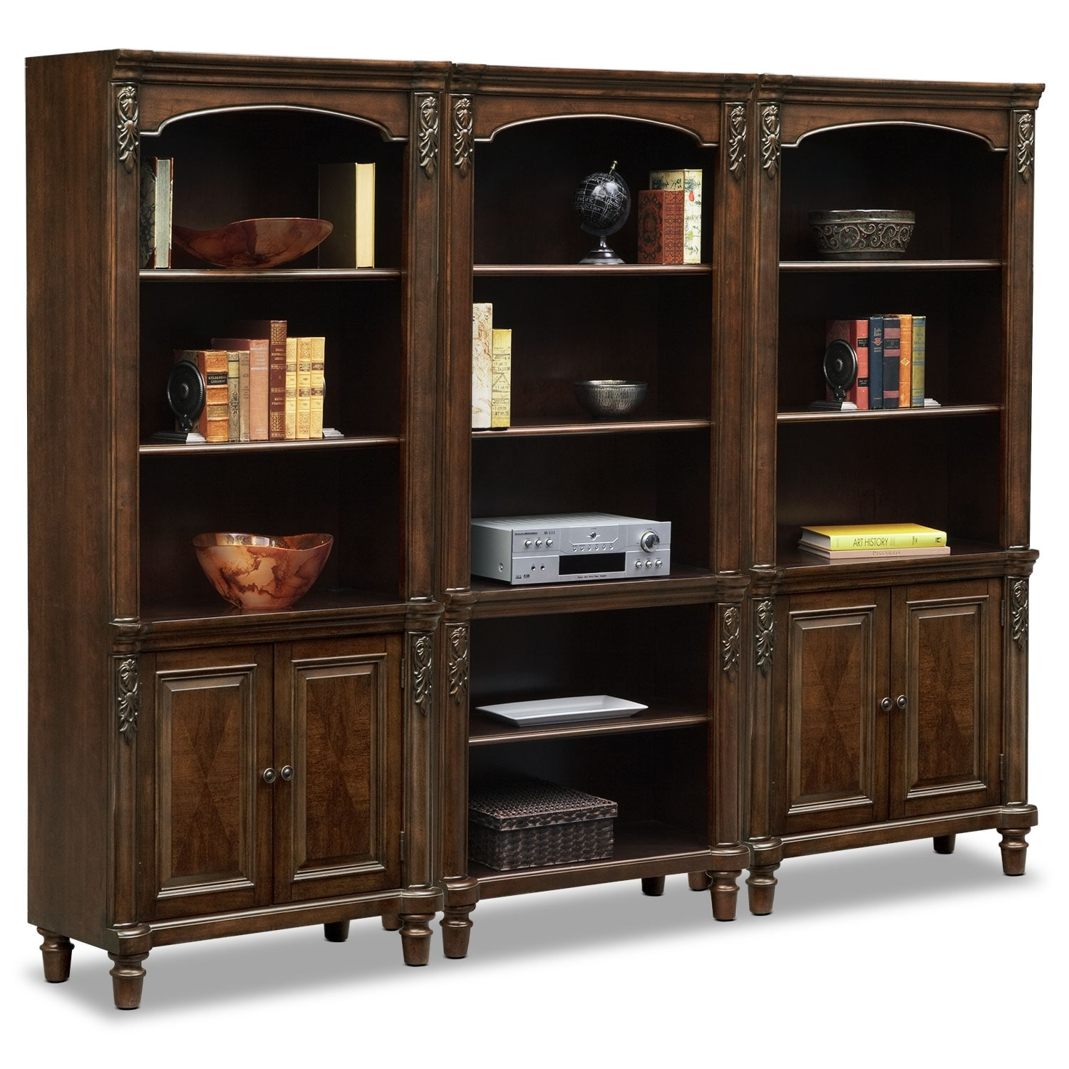 Bookcase Cabinet Ashland Wall Bookcase With 2 Cabinets Cherry