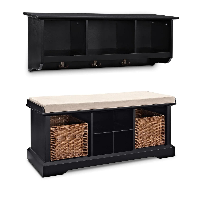 Levi Mahogany Entryway Storage Shelf Value City Furniture