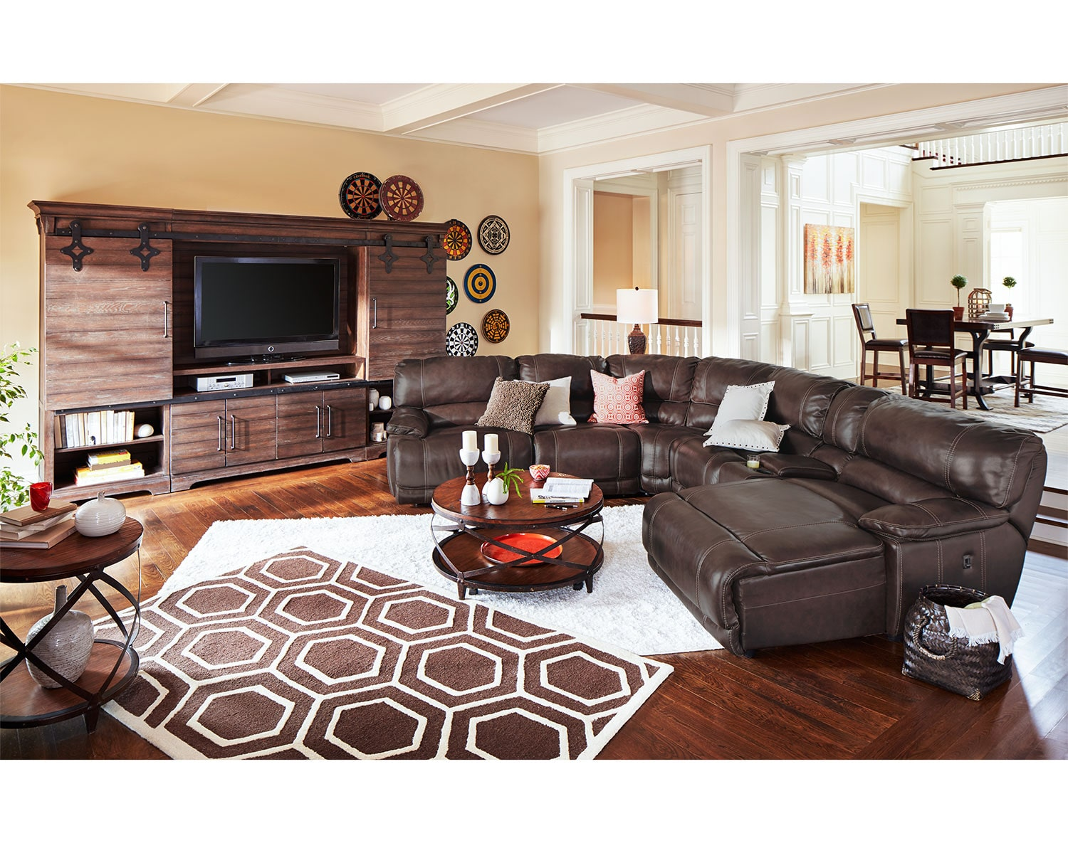 Leather Living Room Furnitures The St Malo Collection Brown Value City Furniture And Mattresses