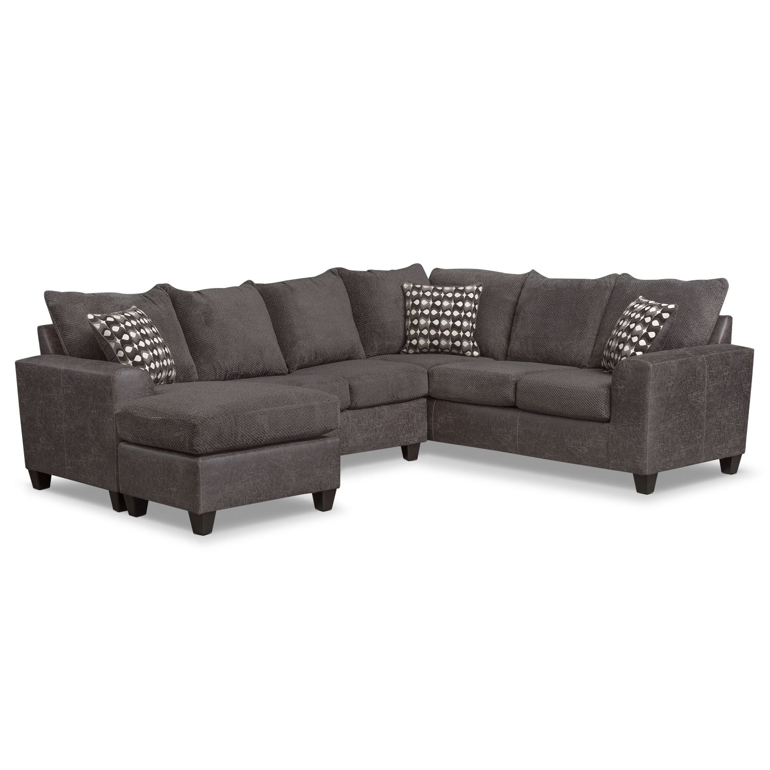 Sectional Corner Couch Brando 3 Piece Sectional With Modular Chaise
