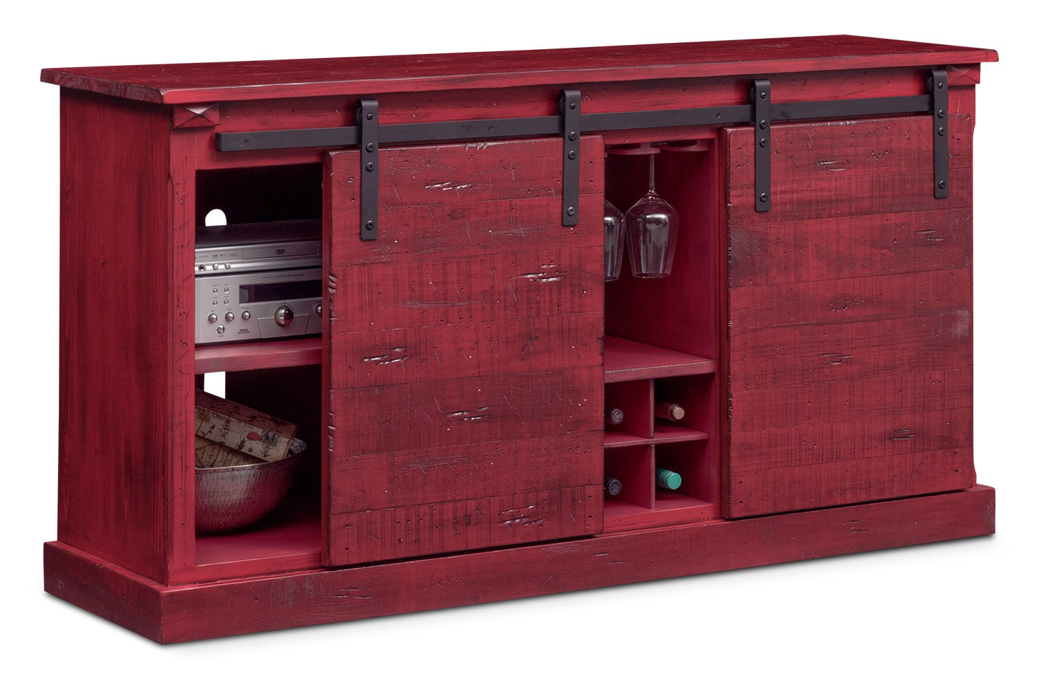 Sofas In Value City Furniture Ashcroft Media Credenza With Wine Storage - Red | Value