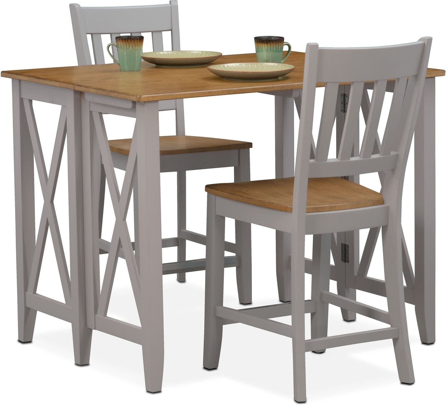 Breakfast Chairs Nantucket Breakfast Bar And 2 Counter Height Slat Back Chairs Oak And Gray