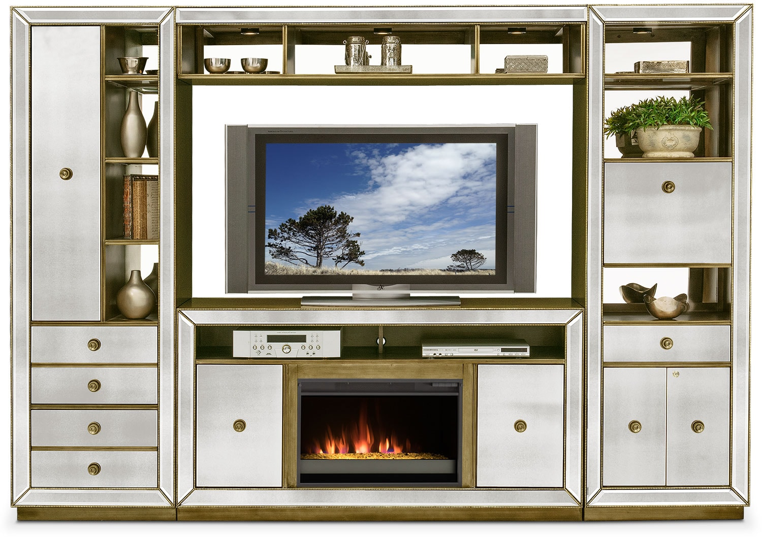 Fireplace Wall Units Reflection 4 Piece Entertainment Wall Unit With Fireplace