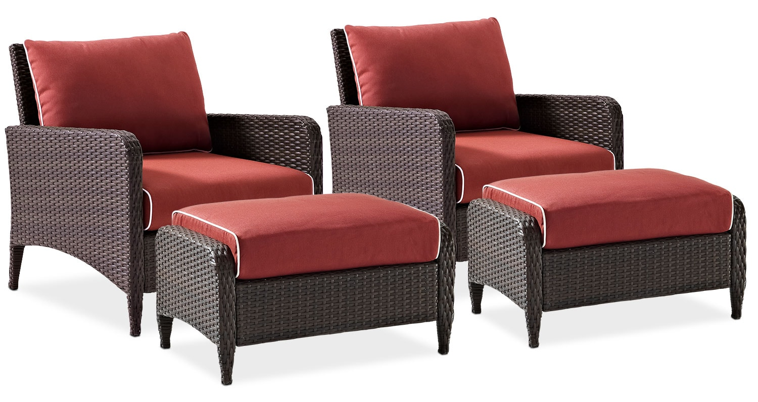 Corona Set Of 2 Outdoor Chairs And Ottomans Sangria