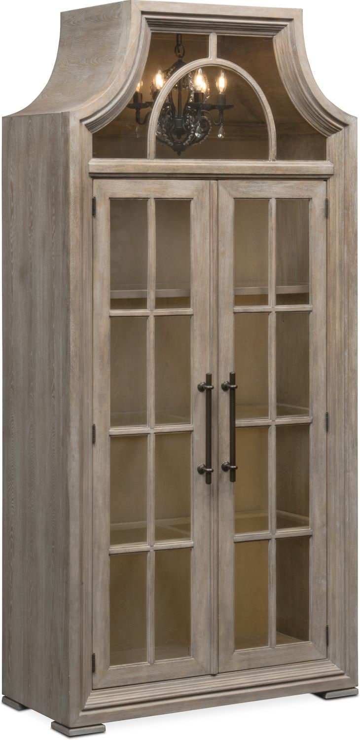 Farmhouse Living Room Lancaster Display Cabinet With Hutch - Parchment | Value