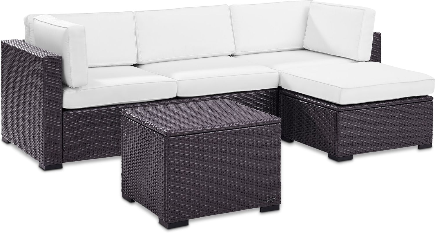 Outdoor Couch Isla 2 Piece Outdoor Sofa Ottoman And Coffee Table Set White