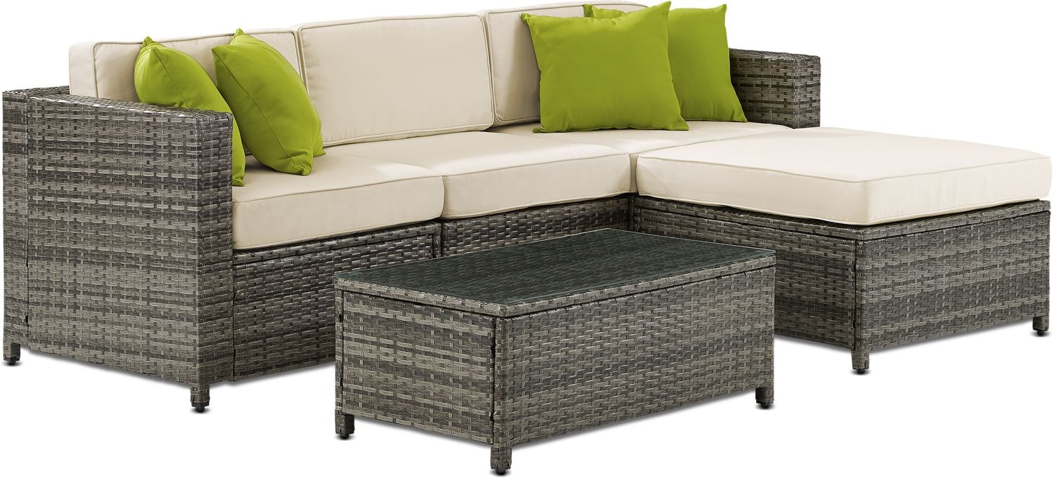 Outdoor Couch Jacques 3 Piece Outdoor Sofa Ottoman And Coffee Table Set Gray