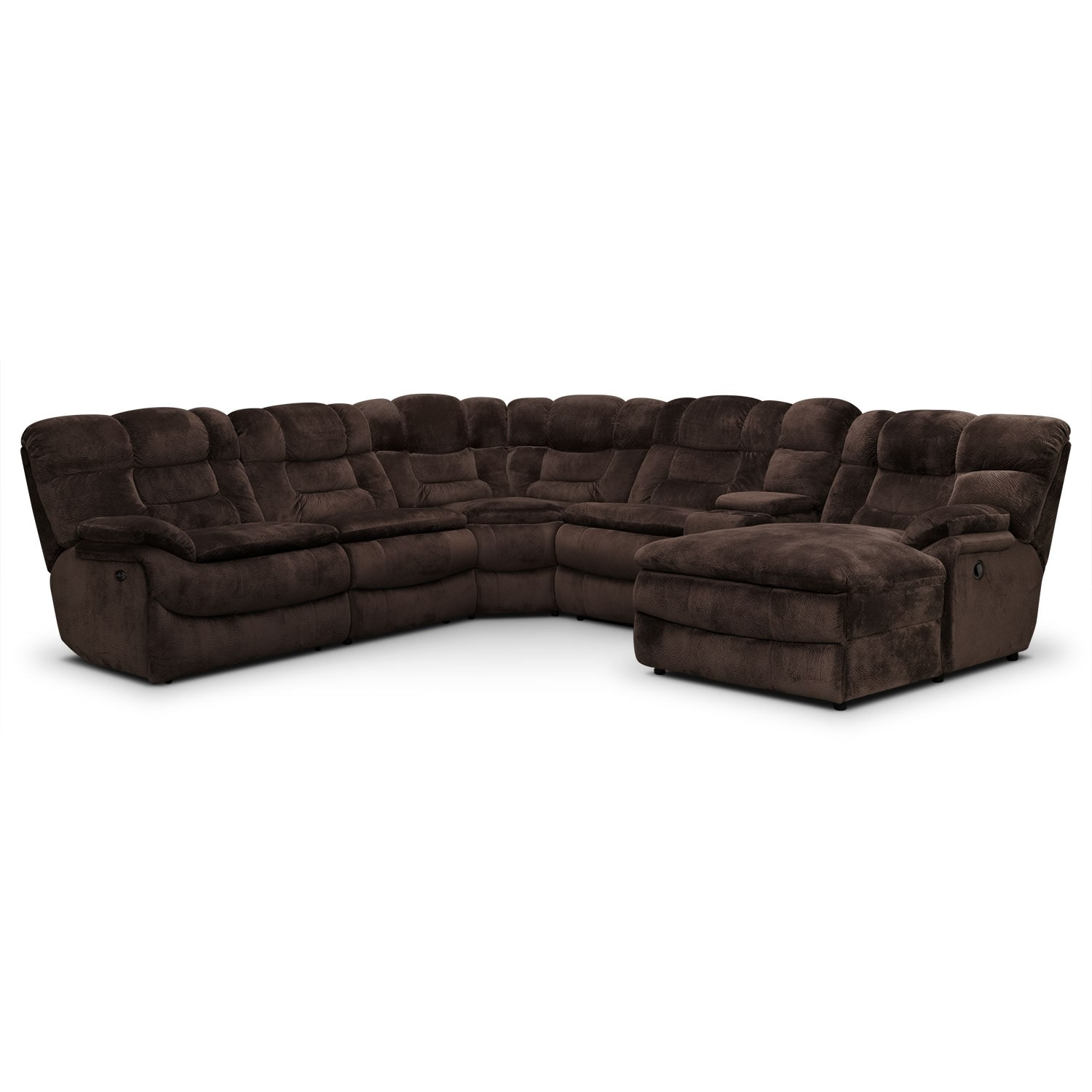 Big Softie 6 Piece Power Reclining Sectional With Chaise And 2 Reclining Seats Value City Furniture