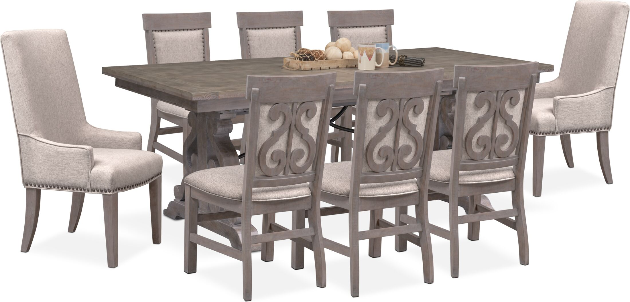 Charthouse Rectangular Dining Table 2 Host Chairs And 6 Upholstered Dining Chairs Value City Furniture