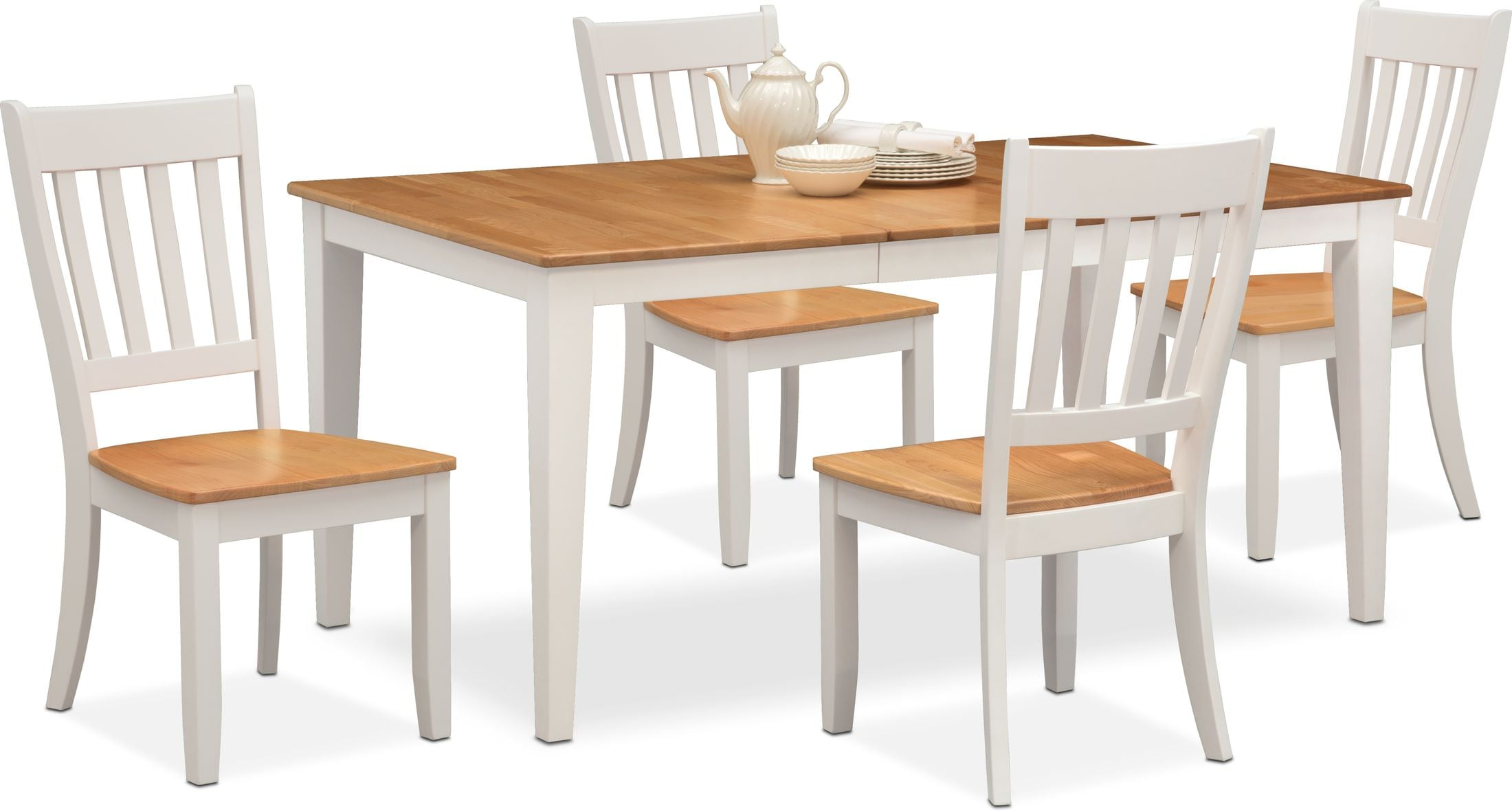 Nantucket Dining Table And 4 Slat Back Dining Chairs Value City Furniture