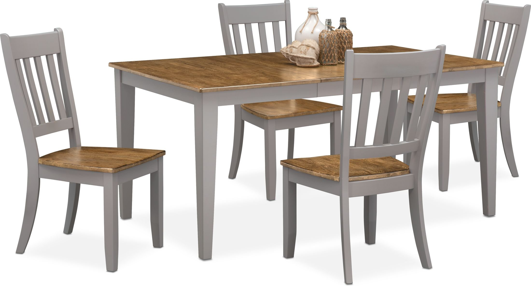 Nantucket Dining Table and 4 Slat-Back Dining Chairs | Value City Furniture