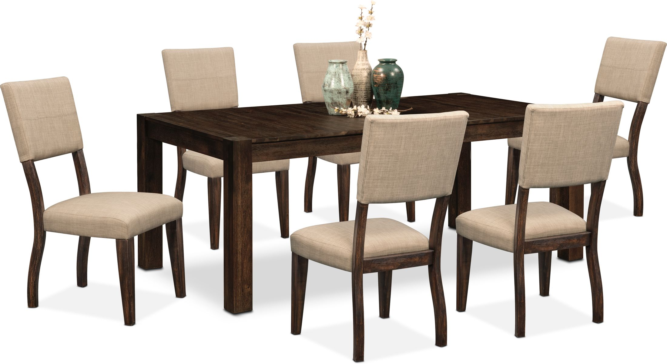 Tribeca Dining Table And 6 Upholstered Dining Chairs Value City Furniture