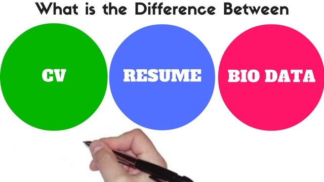 difference between resume and cv and biodata