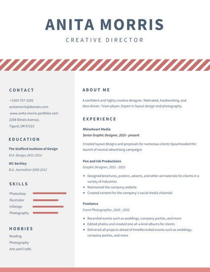 CV in Tabular Form - 18 Tabular Resume Format Templates - WiseStep