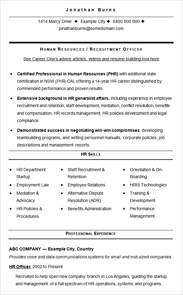 Hr Advisor Resume Sample Resumes Misc Livecareer Hr Recruiter Cv Sample