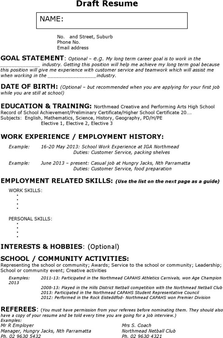 work resume no experience