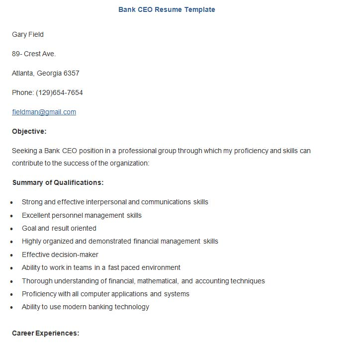 18 Best Banking Sample Resume Templates - WiseStep
