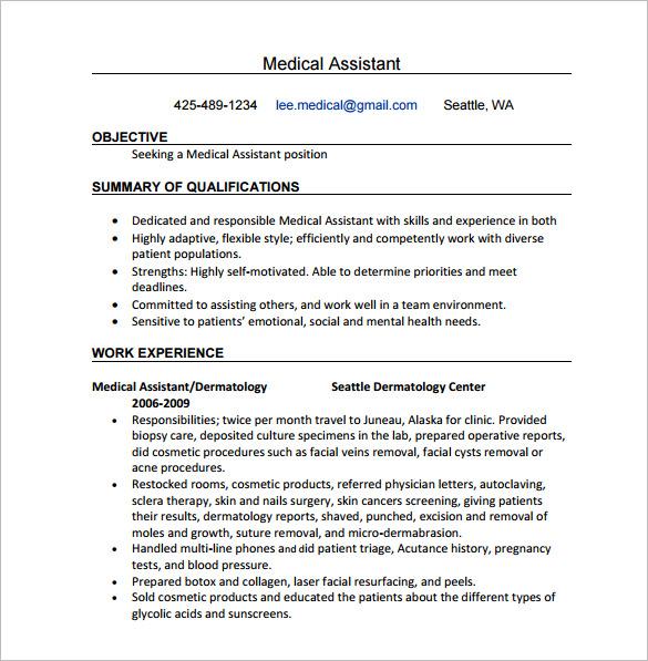 24 Best Medical Assistant Sample Resume Templates - WiseStep