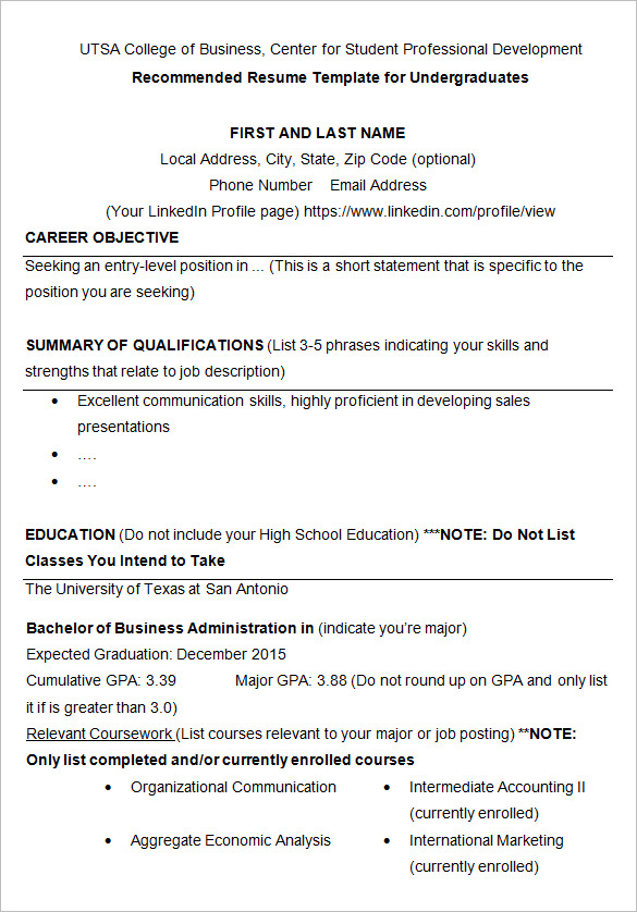 cv student in business school example