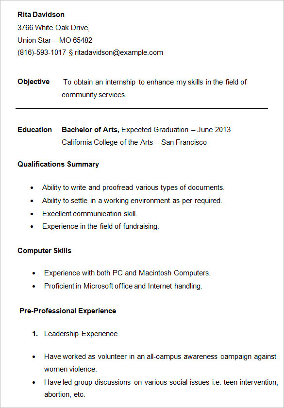 resume for college students template