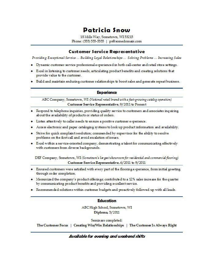 22 Best Customer Service Representative Resume Templates - WiseStep - Examples Of Customer Service Representative Resumes