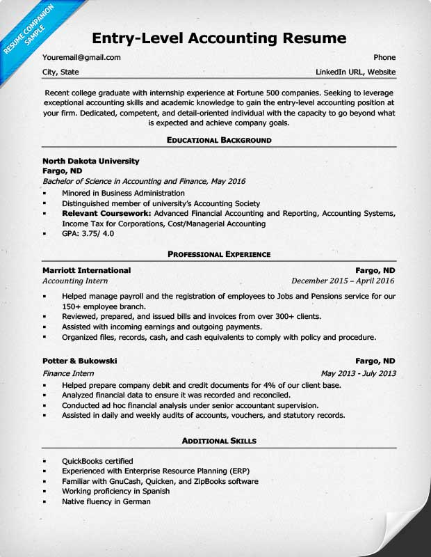 sample cpa resume