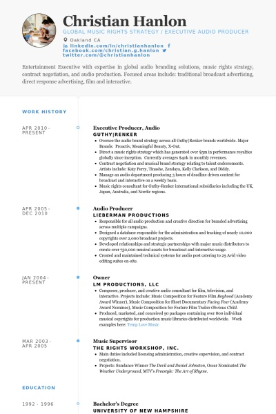 Online producer sample resume